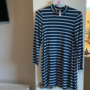Long sleeve Stripe Dress- Teal